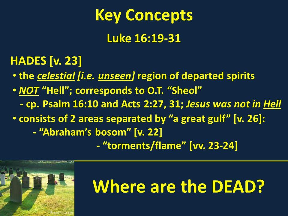 Where are the DEAD Key Concepts Luke 16:19-31 HADES [v. 23]